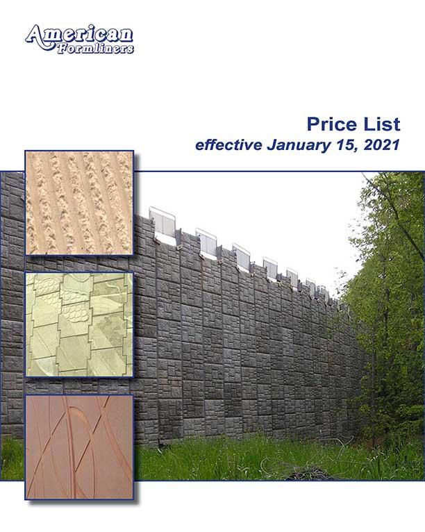 Concrete Formliner Price List